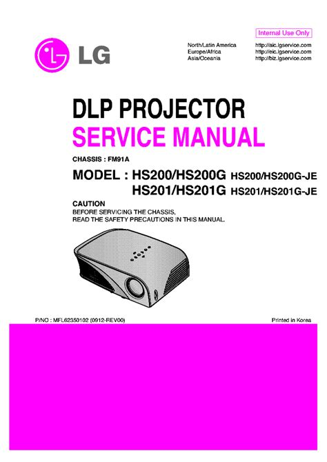 Proyektor Lg Hs200 lg hs200 g je hs201 g je chassis fm91a service manual schematics eeprom repair info