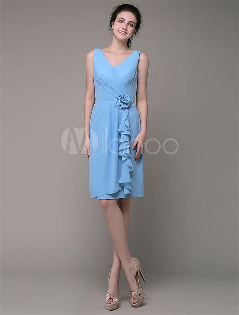 Enfocus Blue Flowers Vneck Dress Original blue bridesmaid dress v neck chiffon pleated ruffles waist flower decorated knee length sheath