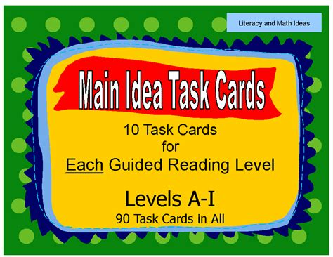 main idea and themes reading plus literacy math ideas task cards organized by guided