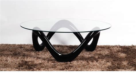 glass coffee table with black high gloss base