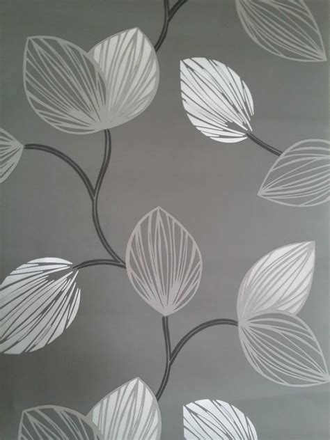 grey wallpaper with leaves silver leaf wallpaper wallpapersafari