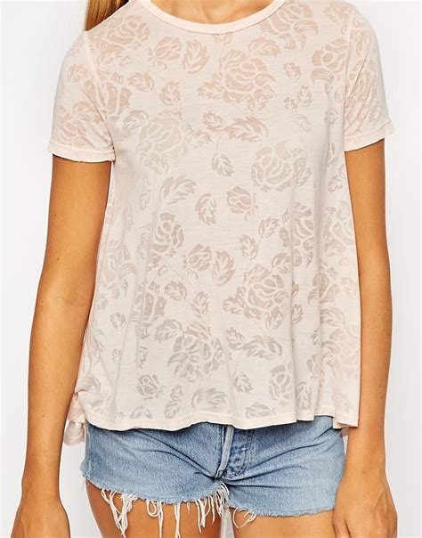 swing tee shirts asos swing t shirt in burnout floral print in pink lyst