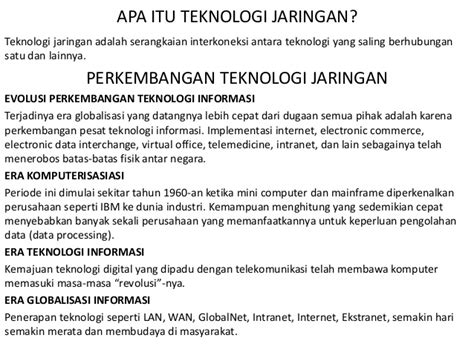 Teknologi Jaringan teknologi jaringan
