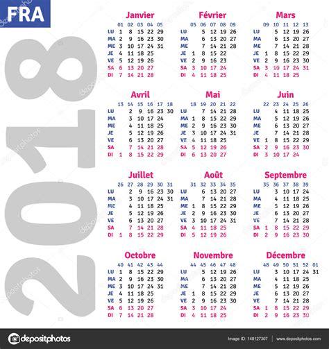 Calendrier Francais 2018 Fran 231 Ais Calendrier 2018 Image Vectorielle 148127307