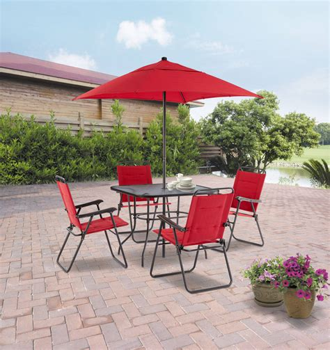 Umbrella For Patio Set Mainstays Searcy 6 Padded Folding Patio Dining Set Seats 4 Ebay