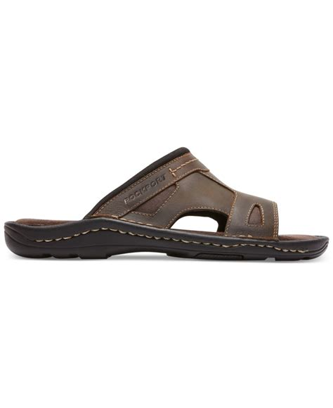 rockport sandals mens rockport s kevka lake one band sandals in brown for