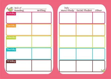 9 best images of cute printable weekly planners 2015 9 best images of cute printable weekly homework planner