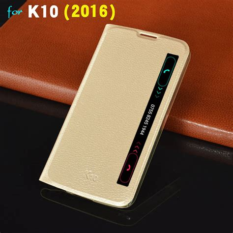 Lg K10 K430 Lte Leather Wallet Soft Flip Flip Cover Casing asuwish smart view flip cover leather for lg k10 2016 slim auto sleep phone for