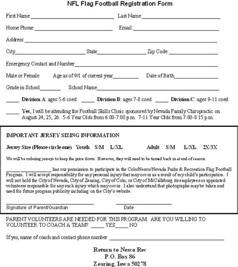 football registration form template colo nesco recreation flag football registration forms