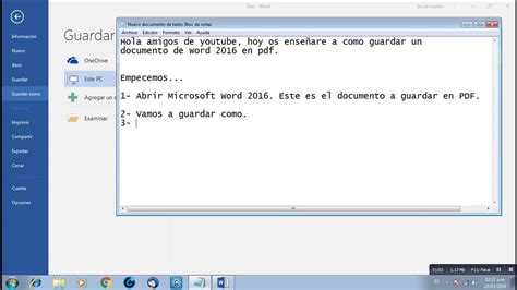 como guardar imagenes jpg a pdf como guardar un archivo word 2016 en pdf youtube
