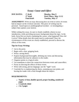 Cause And Effect Expository Essay by Expository Writing Cause Effect Essay Unit With Rubric By Writing