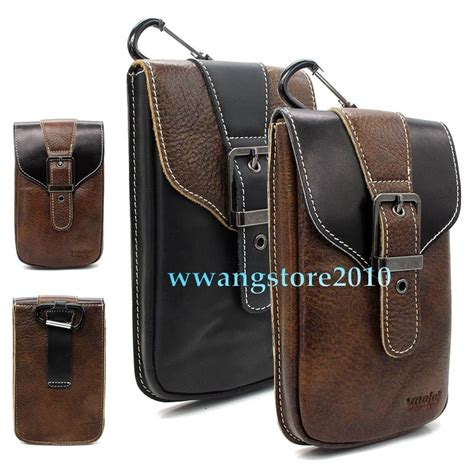 retro real leather pocket belt holster carrying pouch