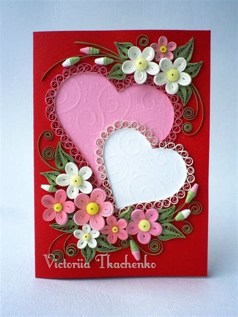 hearts quilled design frame quilling