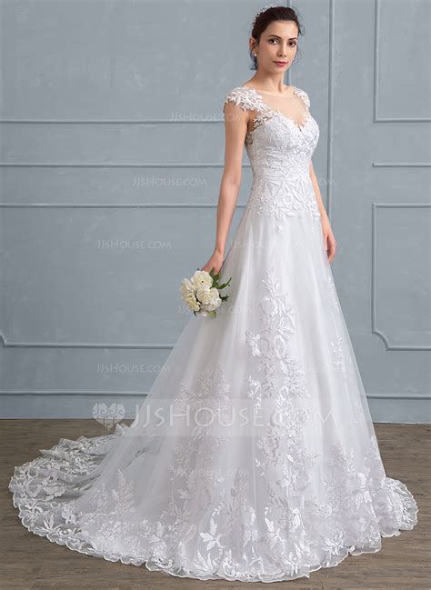 hochzeitskleid jjshouse a line princess scoop neck court train tulle lace wedding