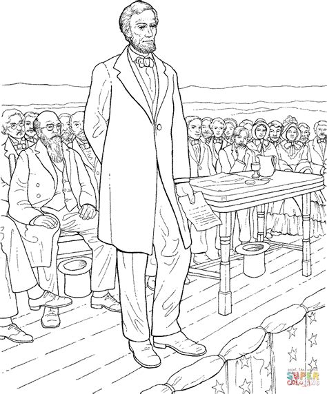 the gettysburg address by abraham lincoln coloring page
