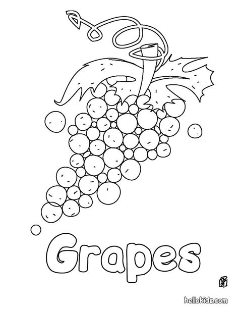 grapes coloring pages to print grapes coloring pages hellokids com