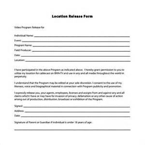 Location Release Form Template by Sle Location Release Form 19 Free Documents