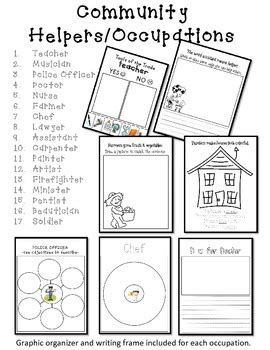 kindergarten activities social studies community helper occupations packet by v anderson