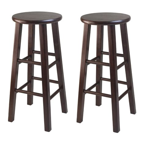 wood bar table and stools round dark brown polished wooden bar stool with four