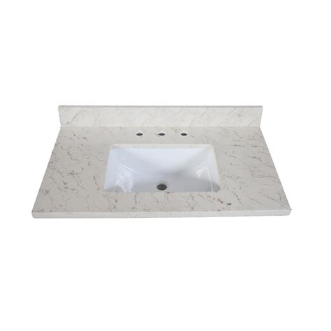 quartz bathroom vanity tops shop allen roth eagle giallo quartz undermount bathroom vanity top common 37 in x