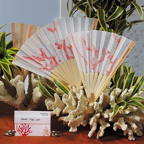 held fans for wedding coral reef held fans for weddings set of 6