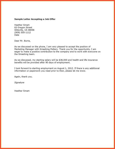 Thank You Letter Template To Employer acceptance thank you letter email cover letter templates