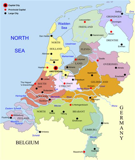 netherlands map major cities provinces of the netherlands simple