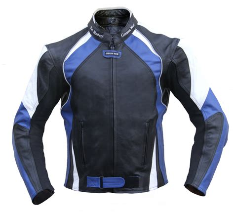 blue motorbike jacket german wear leather motorcycle motorbike cowhide combi