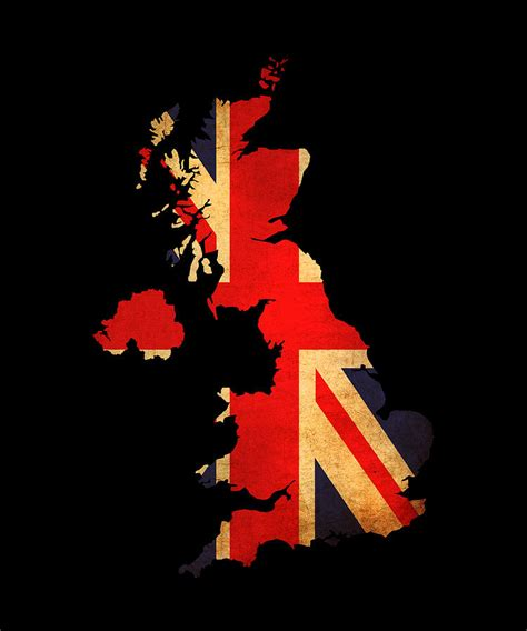 United Kingdom Outline Flag by United Kingdom Grunge Map Outline With Flag Photograph By Matthew Gibson