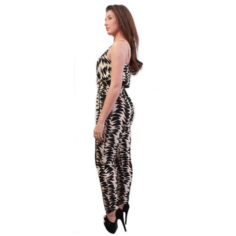 cream patterned jumpsuit harley cream black patterned jumpsuit from parisia