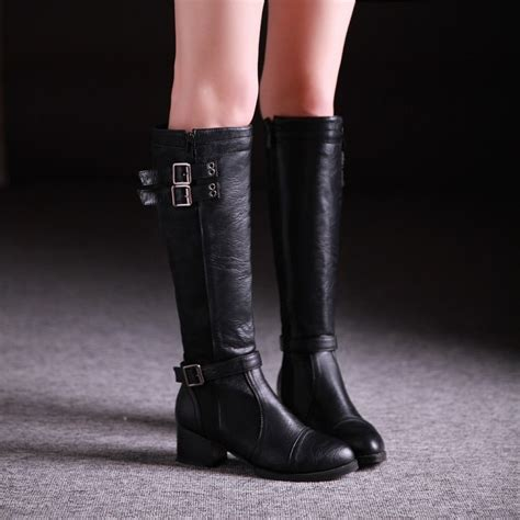 knee high heel boots cheap cheap winter fashion toe zipper buckle design chunky