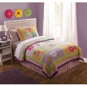 pink purple green floral bedding quilt set