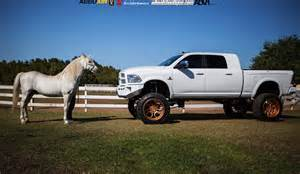 Bronze Wheels On White Truck Lifted Ram 2500 On Gold Wheels Meets A