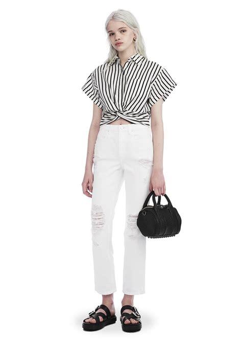 Stripe Twist Crop Baju Rajut Korea striped twist front sleeve crop shirt top wang official site