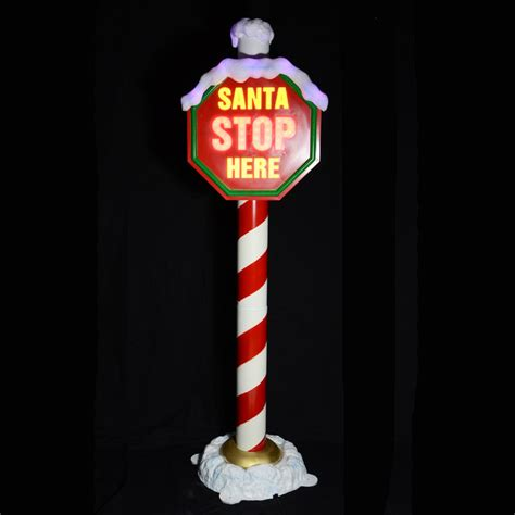 indoor lighted christmas signs 1 6m flashing light up quot santa stop here quot christmas sign on