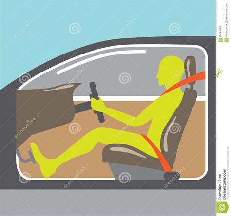 Driver In The Car Seat Belt Stock Vector   Image: 67449690