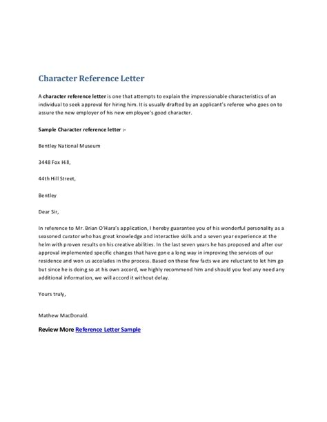Character Reference Letter Template For Employee Character Reference Letter