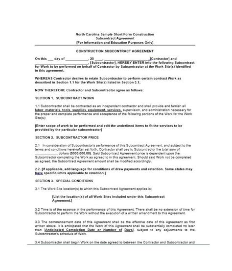standard subcontract agreement template need a subcontractor agreement 39 free templates here