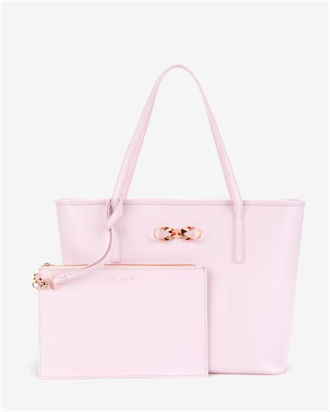 028d2ar Knot Handle Handbag Soft Pink ted baker bow detail leather shopper bag in pink lyst