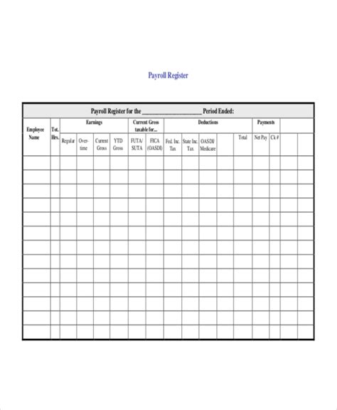 payroll register template 7 free word excel pdf