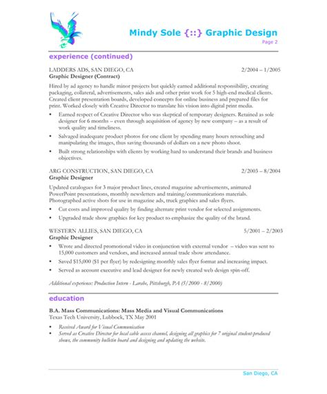 Resume Summary Exles Graphic Design Graphic Designer Free Resume Sles Blue Sky Resumes