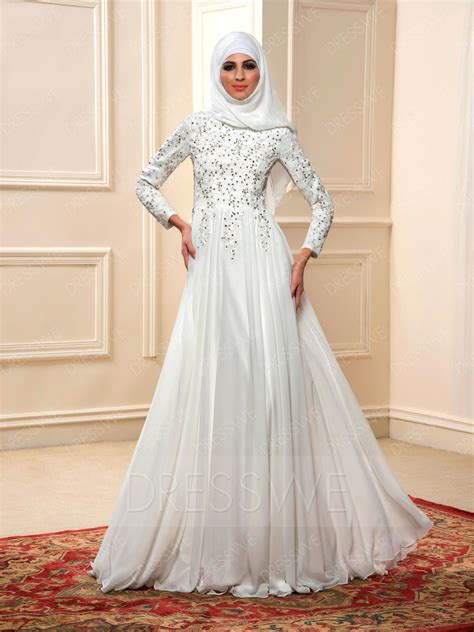 Flowery A Line Muslim Dress charming beading sleeves a line floor length muslim wedding dress 11598013 muslim wedding