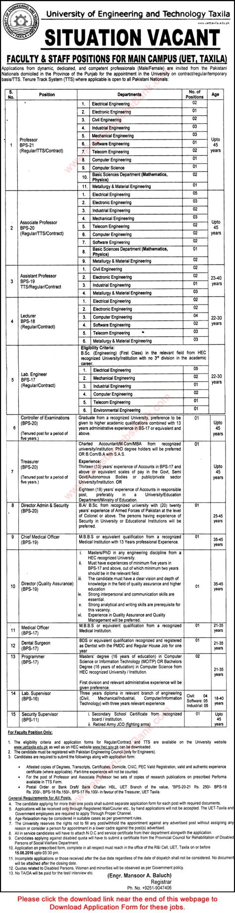 Mba Ms Industrial Engineering by Uet Taxila 2016 July August Application Form