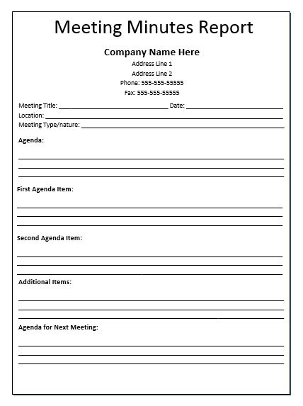 School Board Meeting Report Template Pdf Meeting Minutes Report Template Official Templates