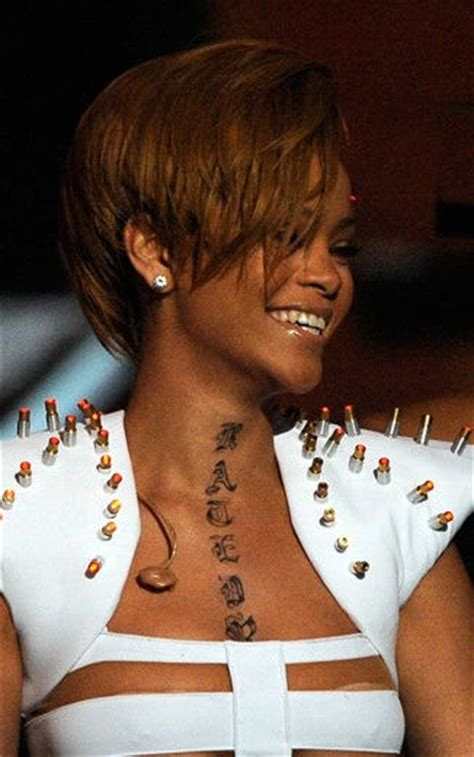 rihanna shoulder tattoo rihanna neck