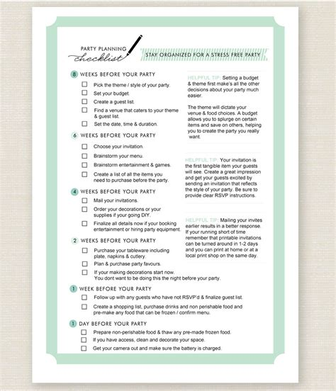 birthday checklist template birthday planning checklist template free business
