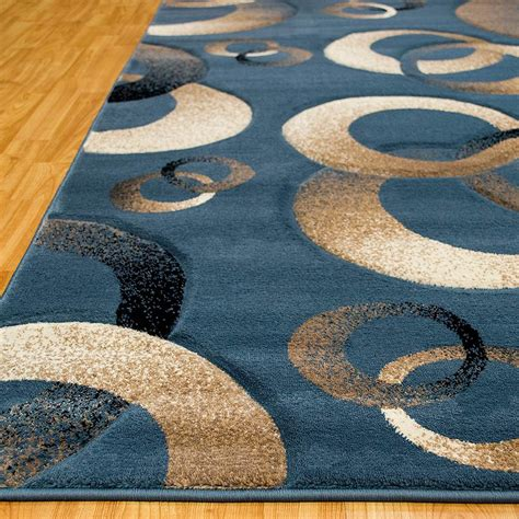allstar rugs circles blue area rug wayfair