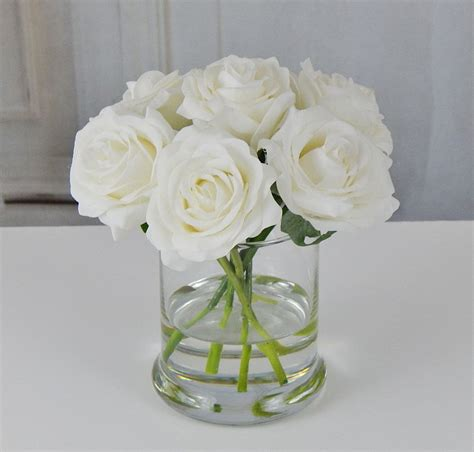 Roses In Glass Vase white roses glass vase faux water acrylic