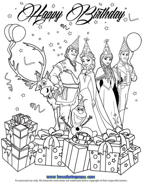 Frozen Coloring Pages Happy Birthday | free frozen birthday page coloring pages