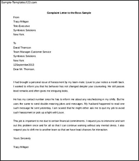 Exle Complaint Letter Against Manager Employee Complaint Letter About Sle Templates